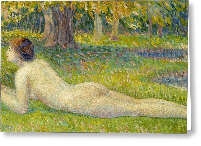 Pointillist Greeting Cards - Reclining Woman Greeting Card by Hippolyte Petitjean
