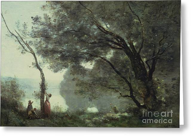 Calm Paintings Greeting Cards - Recollections of Mortefontaine Greeting Card by Jean Baptiste Corot