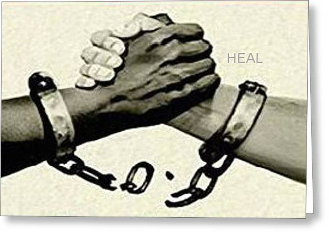 Recently Sold -  - Slavery Greeting Cards - Heal Greeting Card by Geoff Sadler Designs