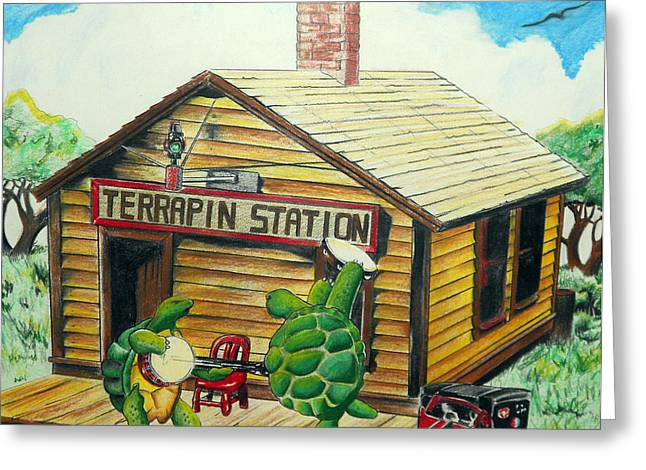 Color Pencil Greeting Cards - Recreation of Terrapin Station album cover by The Grateful Dead Greeting Card by Ben Jackson