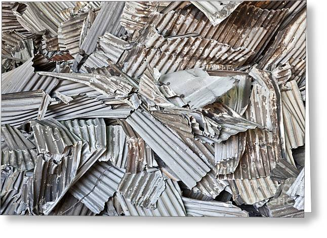 Recycling Corrugated Aluminum Sheeting Greeting Card by Inga Spence