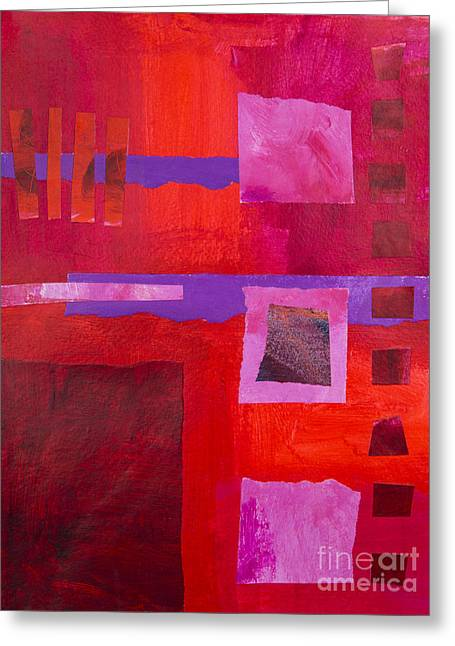 Abstract Geometric Greeting Cards - Red 1 Greeting Card by Elena Nosyreva