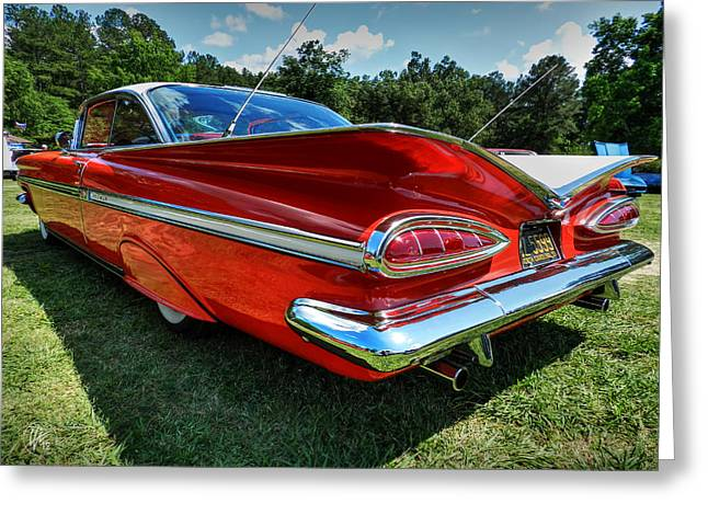 1959 Chevrolet Greeting Cards - Red 59 Impala 001 Greeting Card by Lance Vaughn
