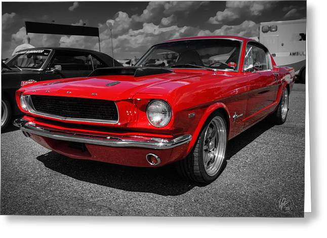 Ford Greeting Cards - Red 65 Mustang 001 Greeting Card by Lance Vaughn
