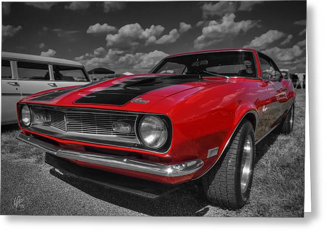 Sports Car Greeting Cards - Red 68 Camaro 001 Greeting Card by Lance Vaughn