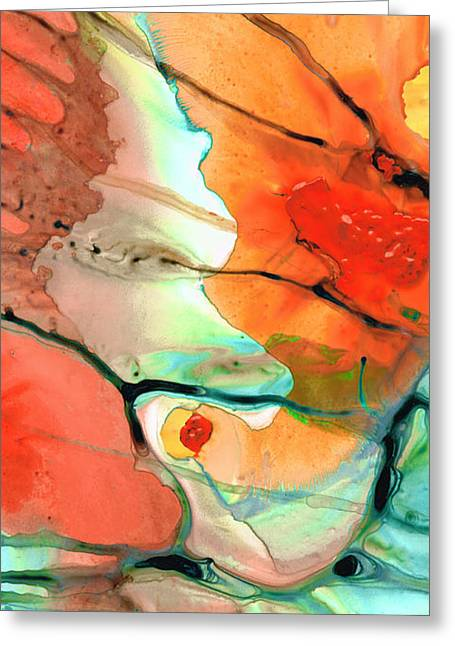 Pastel Green Greeting Cards - Red Abstract Art - Decadence - Sharon Cummings Greeting Card by Sharon Cummings