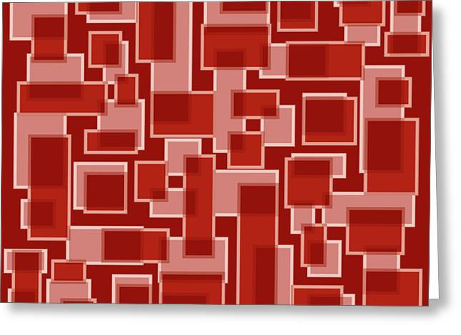 Red Abstract Patches Greeting Card by Frank Tschakert