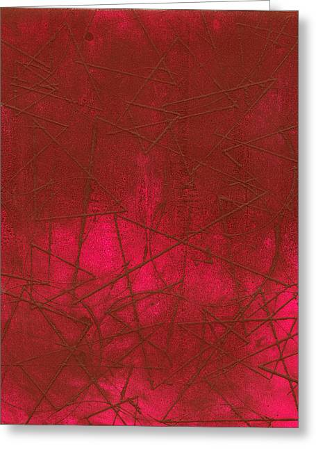 Printmaking Greeting Cards - Red Abstract Shapes Greeting Card by Rockstar Artworks