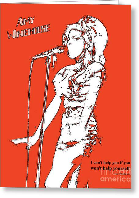 Live Music Mixed Media Greeting Cards - Red Amy Greeting Card by Pablo Franchi