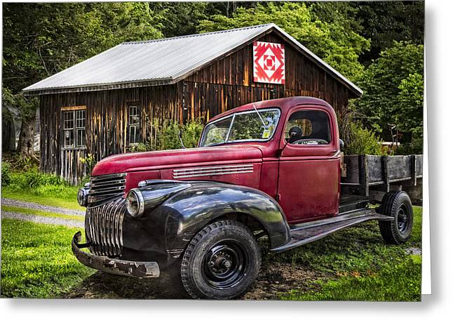 Tennessee Barn Greeting Cards - Red and Black Greeting Card by Debra and Dave Vanderlaan