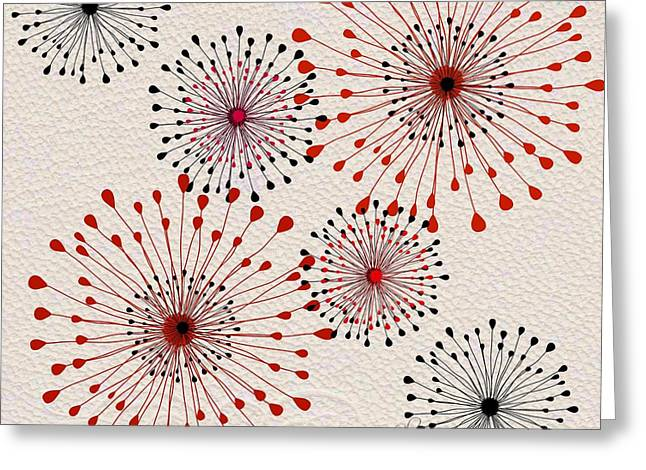 Red Abstract Tapestries - Textiles Greeting Cards - Red and Black Floral Burst Greeting Card by Sharon Johnston
