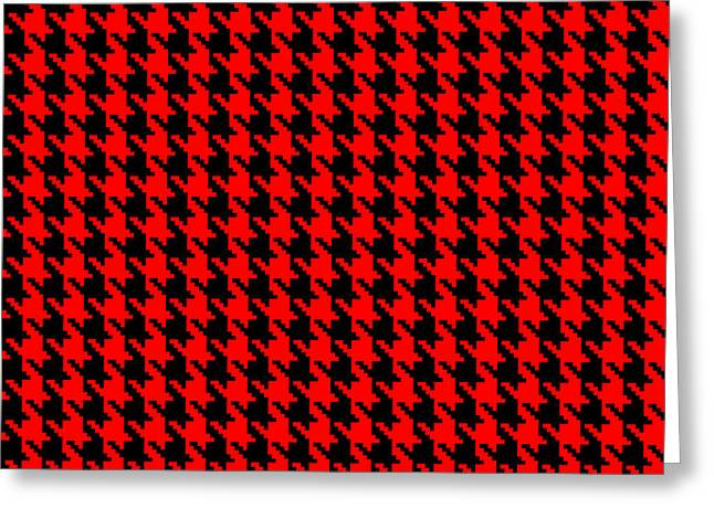 Hounds Tooth Greeting Cards - Red and Black Houndstooth Check Greeting Card by Jane McIlroy