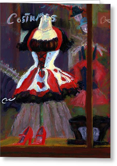 Exotic Pastels Greeting Cards - Red And Black Jester Costume Greeting Card by Cheryl Whitehall