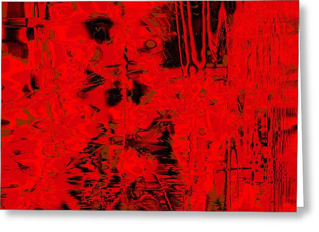Red Abstracts Tapestries - Textiles Greeting Cards - Red And Black Greeting Card by Laura Boyd
