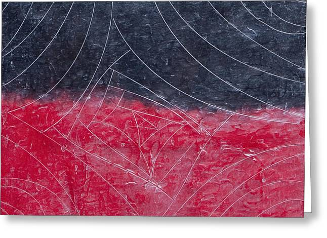 Incised Greeting Cards - Red and Black Greeting Card by Nell Werner