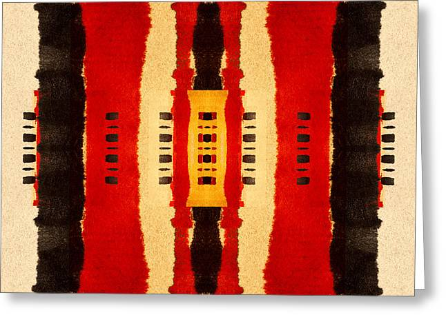 Primitive Greeting Cards - Red and Black Panel Number 4 Greeting Card by Carol Leigh