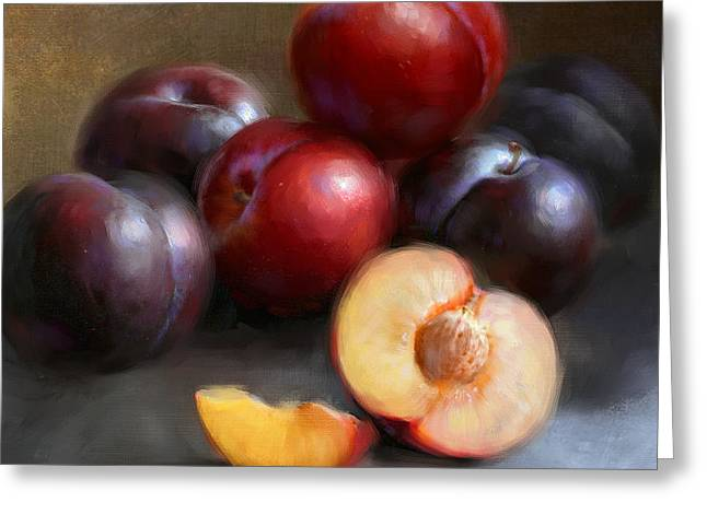 Red and Black Plums Greeting Card by Robert Papp
