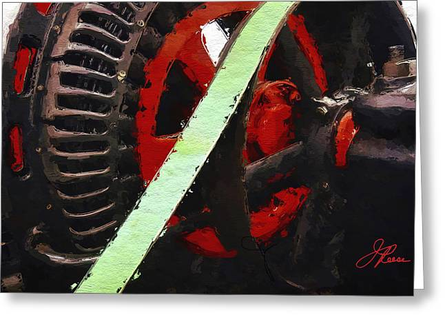 Whee Greeting Cards - Red and Black Wheel Greeting Card by Joan Reese