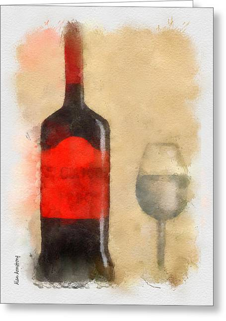 Pouring Wine Digital Art Greeting Cards - Red And Black Wine bottle And Glass Greeting Card by Alan Armstrong