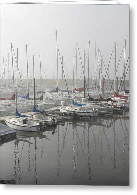 Sailboats Docked Greeting Cards - Red and Blue Boats Greeting Card by Laurie With