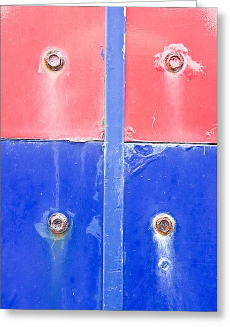Red And Blue Metal Greeting Card by Tom Gowanlock
