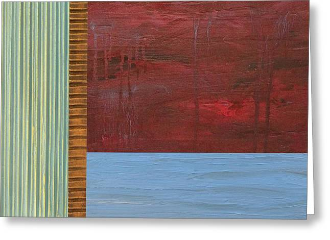 Lake Greeting Cards - Red and Blue Study Greeting Card by Michelle Calkins