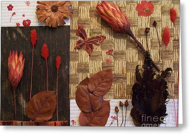 Flower Photos Mixed Media Greeting Cards - Red and Brown DriedLeaves and Flowers Greeting Card by Marsha Heiken