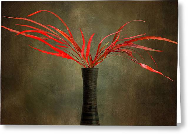 Flower Design Greeting Cards - Red and brown Greeting Card by SK Pfphotography