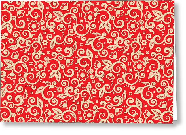 Red And Gold Christmas Background Greeting Card by Natalia Ratselmeister