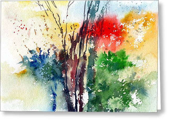 Anil Nene Greeting Cards - Red And Green Greeting Card by Anil Nene