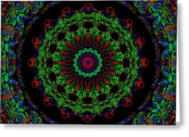 Red And Green Christmas Wreath Mandala Greeting Card by John Groves
