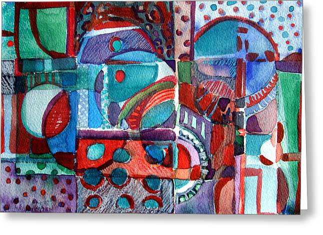 Mechanical Mixed Media Greeting Cards - Red and Green Jazz Greeting Card by Mindy Newman