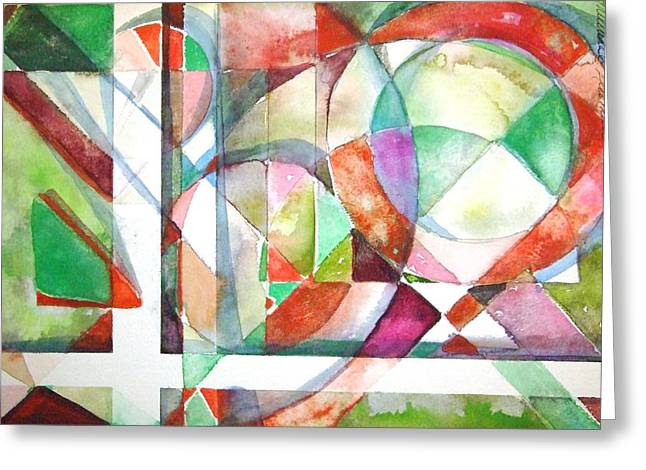 Abstractions Drawings Greeting Cards - Red and Green Greeting Card by Mindy Newman