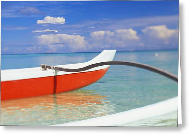 Red And White Canoe Greeting Card by Dana Edmunds - Printscapes