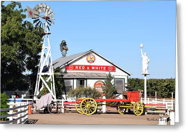Red Wagon Greeting Cards - Red and White Food Stores Greeting Card by Barbara Snyder