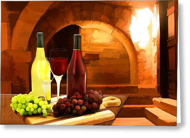 Red and White in the Cellar Greeting Card by Elaine Plesser