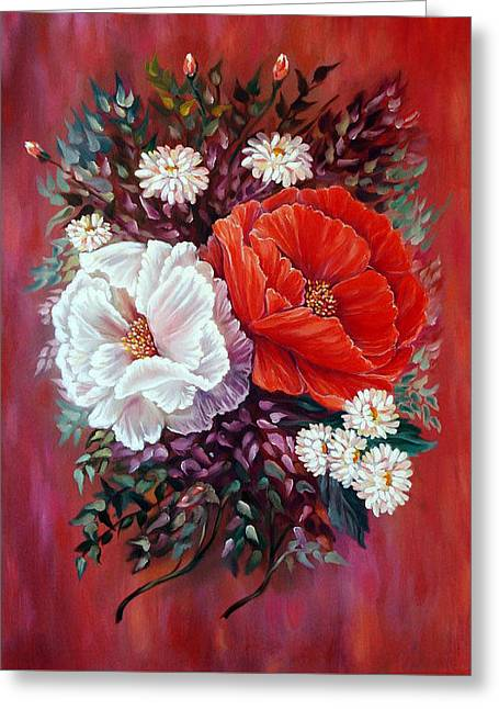 Red And White Greeting Card by Katreen Queen