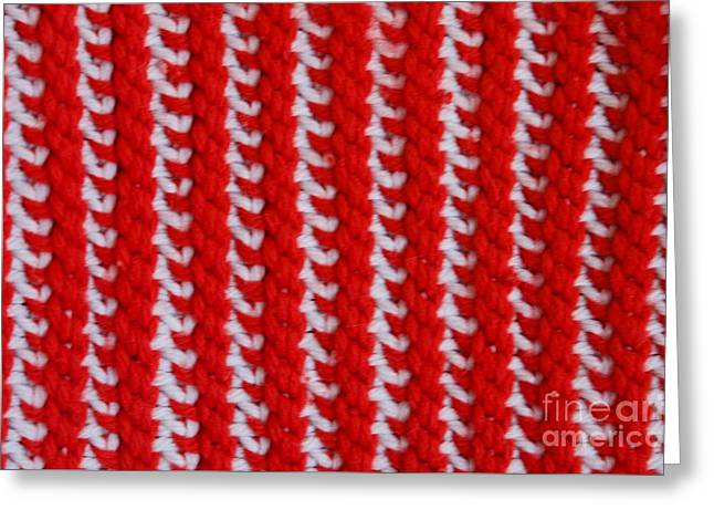 White Tapestries - Textiles Greeting Cards - Red and White Knit Greeting Card by AnnaJo Vahle