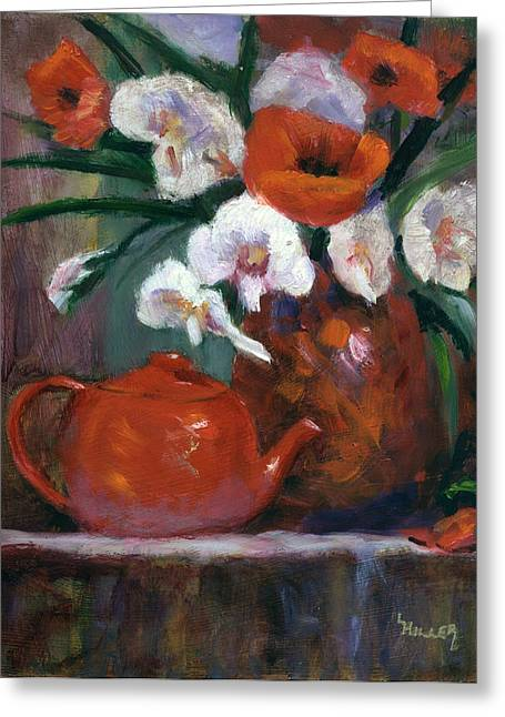 Teapot Paintings Greeting Cards - Red and White Greeting Card by Linda Hiller