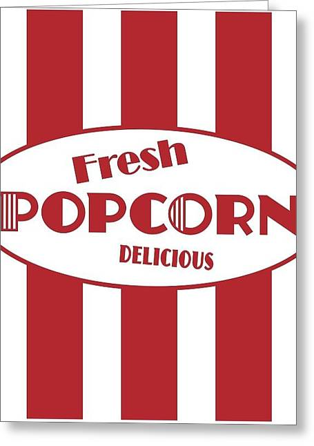 Popcorn Greeting Cards - Red And White Stripes With Fresh Greeting Card by Gillham Studios