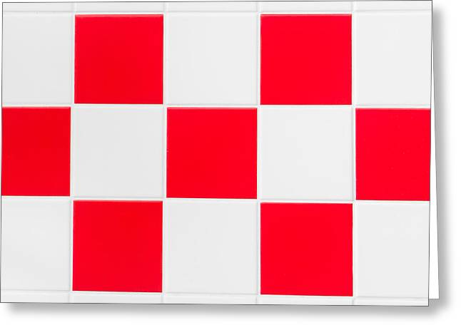 Small Abstract Greeting Cards - Red and white tiles Greeting Card by Tom Gowanlock