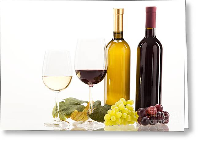 Red Wine Greeting Cards - Red and white wine with grapes and wine bottle Greeting Card by Wolfgang Steiner