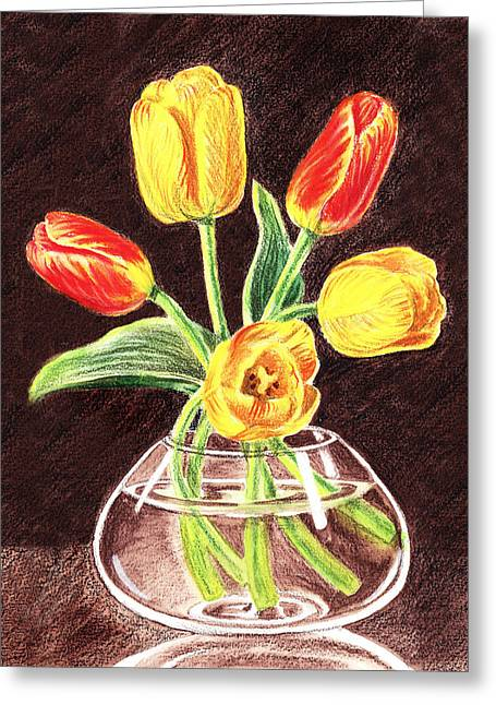 Glass Vase Greeting Cards - Red And Yellow Tulips Bouquet Greeting Card by Irina Sztukowski