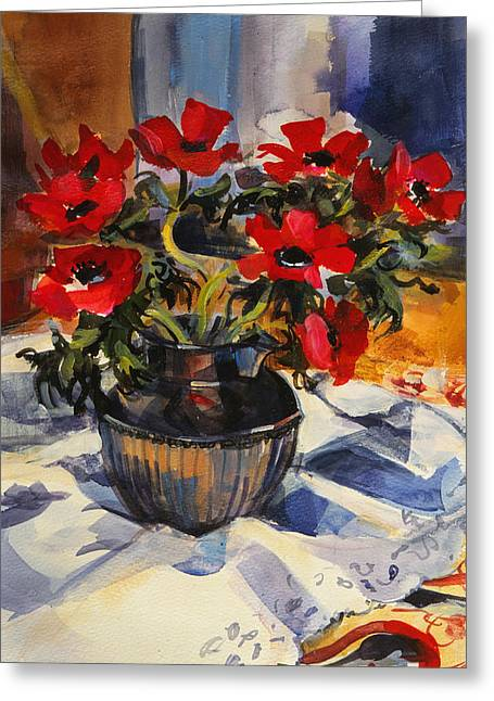 Red Anemones Greeting Card by Sue Wales