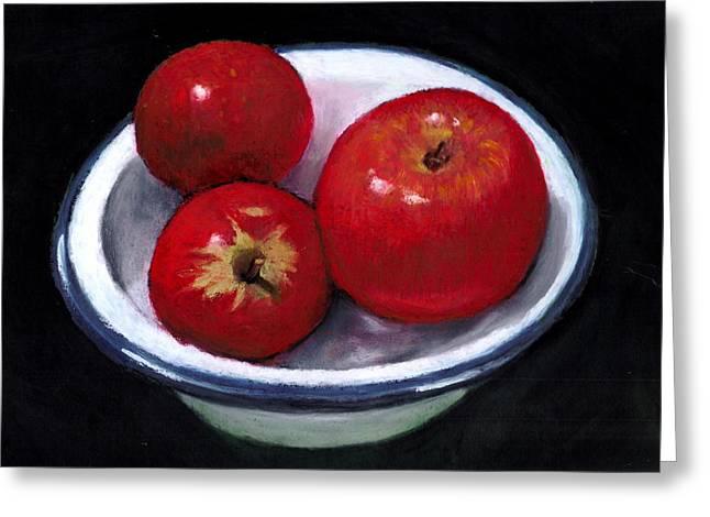 Bowl Pastels Greeting Cards - Red Apples in Enamel Bowl Greeting Card by Joyce Geleynse