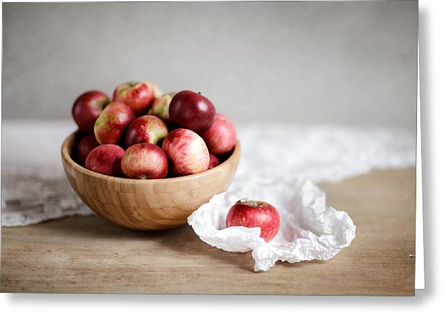 Dish Greeting Cards - Red Apples Still Life Greeting Card by Nailia Schwarz