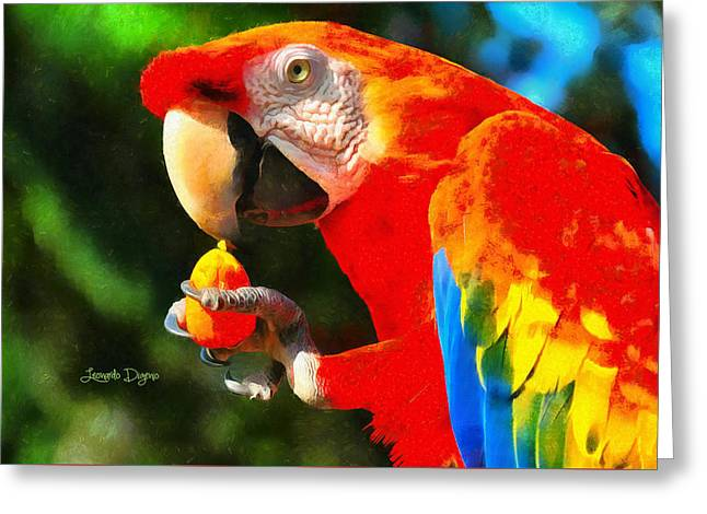 Red Arara Lunch Time - Da Greeting Card by Leonardo Digenio