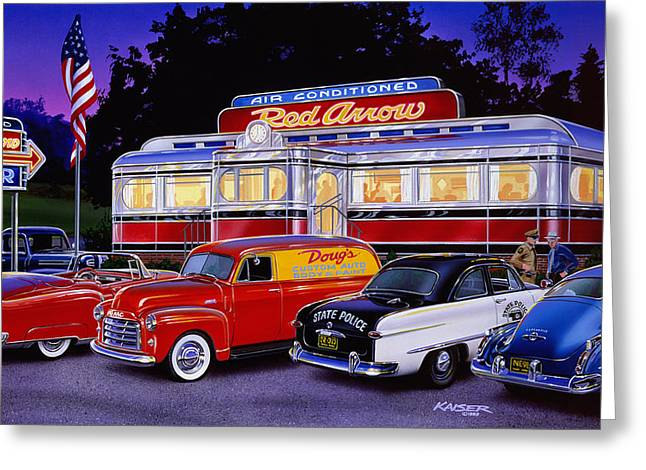 Police Car Greeting Cards - Red Arrow Diner Greeting Card by Bruce Kaiser