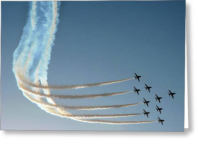 Aerobatics Greeting Cards - Red Arrows - 1 Greeting Card by Graham Taylor