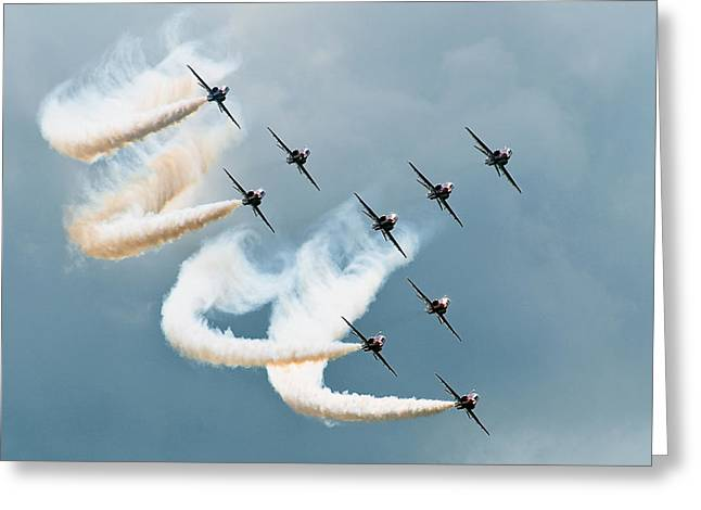 Aircraft Photographs Greeting Cards - Red Arrows Greeting Card by Jan Lykke